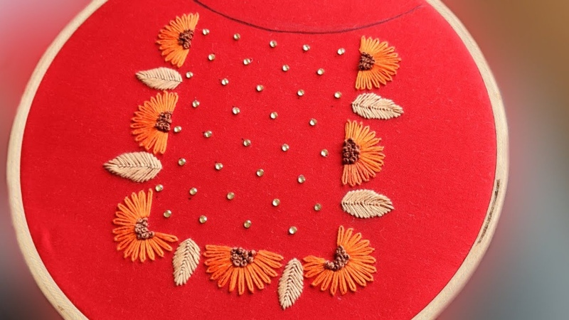 Neckline Embroidery Design Idea for Dress Kurti Hand Embroidery Work