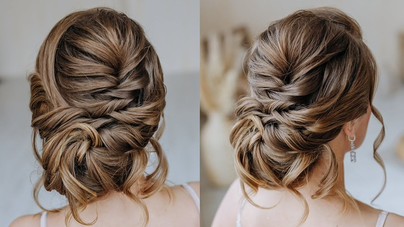 Low texture bun for silky hair A wedding hairstyle that is easy to repeat even for a beginner