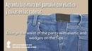Agranda la cintura del pantalón con elástico y cuñas en las caderas