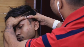 Biswajit barber using thai tool for massage my head and body   ASMR loud cracks