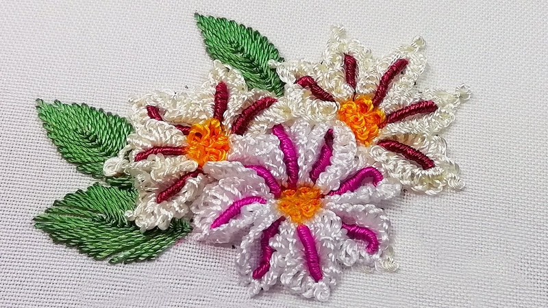 African Camomile Dimensional Embroidery New petal's design