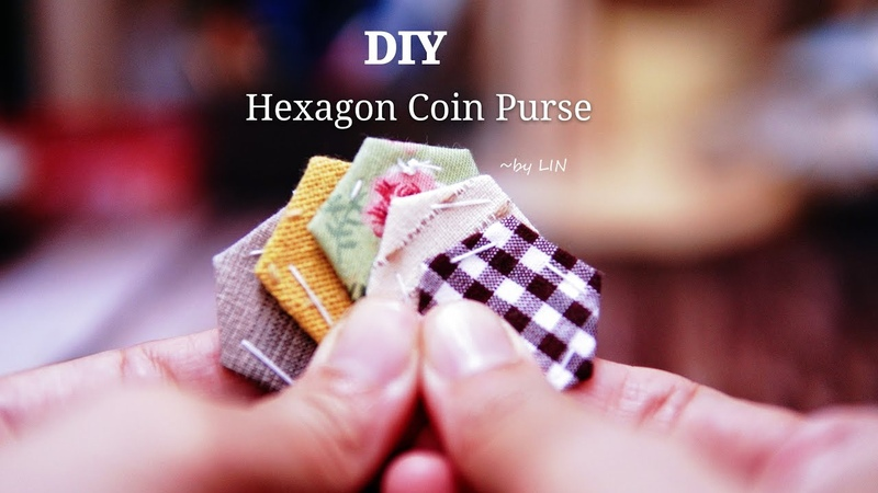 DIY Hexagon Coin Purse Hand Stitch sewing project 手縫い六角小財布