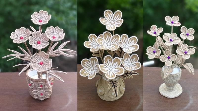 DIY 3 Burlap Flower With Vase Decoration Ideas    Best Jute Burlap Flower Vase For Home Decor