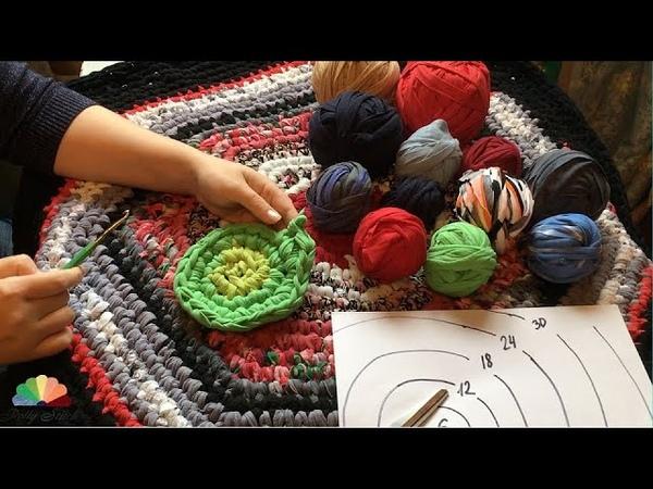 Из старых футболок Шестиугольный коврик крючком. DIY Hexagonal rug crocheted.
