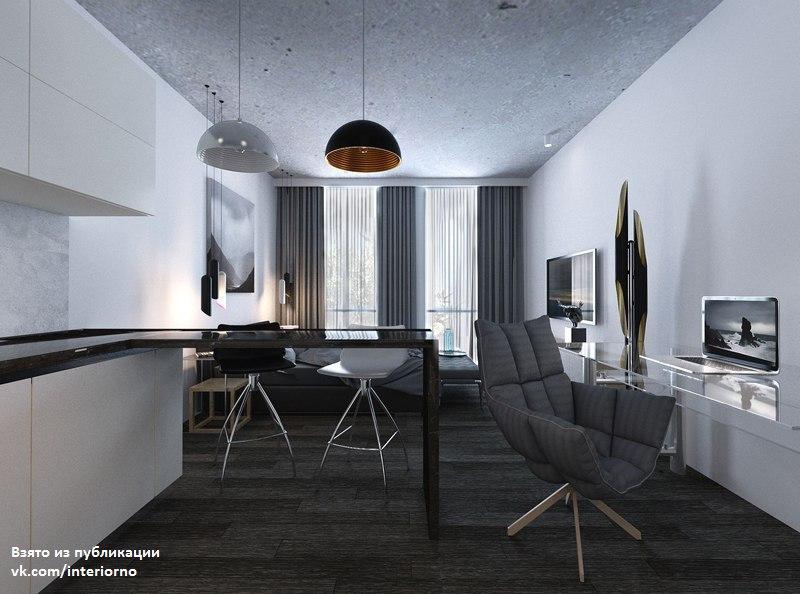 Проект студии площадью 35 кв.