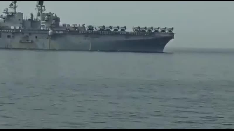 Footage captured from IRIN vessel shows USS Bataan LHD-5 and other USN vessels entering Strait of Hormuz.