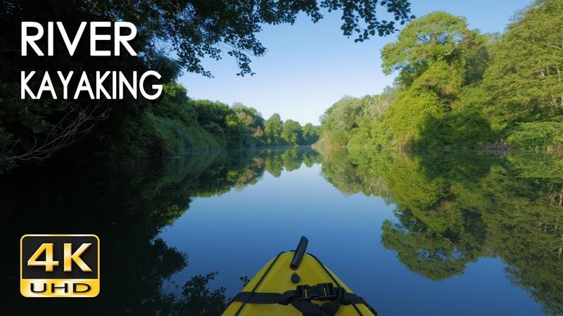 4K River Kayaking Birds Singing Water Sounds Paddling a Canoe Relaxing Nature Video NO LOOP