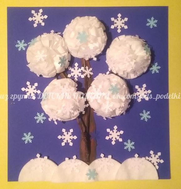 Объемная зимняя аппликация Снежное дерево (ватные диски, веточки дерева, пластилин, картон, бумага)
