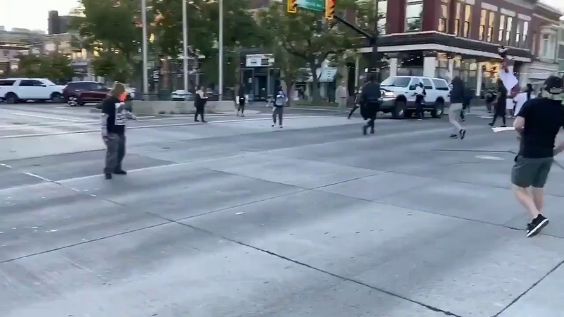 Blac bloc Antifa BLM militant fired multiple times into an SUV in Provo