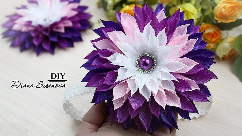 Цветы из лент. МК. Канзаши./ DIY. Kanzashi. Ribbon flowers.