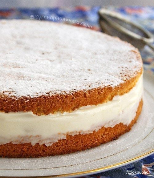 Торт с нежнейшим творожным кремом  Понадобится: Для бисквита: - 5 яиц -...