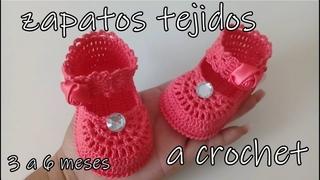zapatitos tejidos a crochet -modelo betty -3 a 6 meses