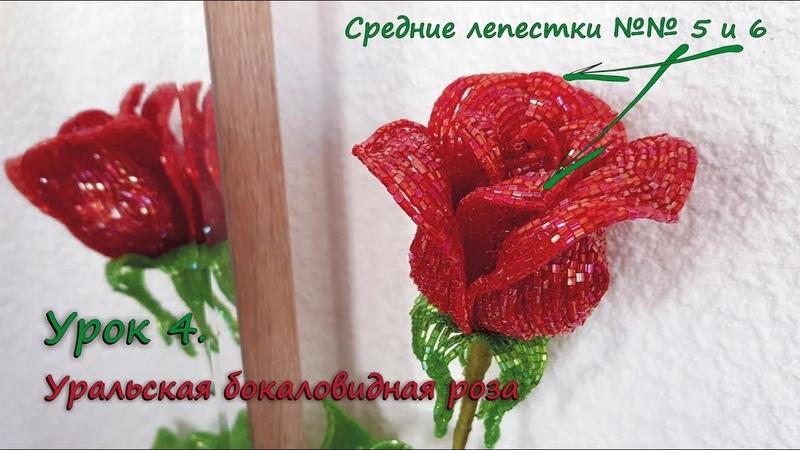 Бокаловидная роза 🌹 Урок 4 Средние лепестки 5 и 6 Cup shaped rose Lesson 4 Middle petals 5 6