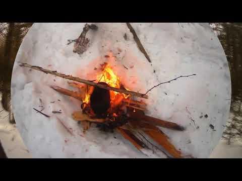 Охота на изюбря Тайга Чай у костра Лайки в глубоком снегу