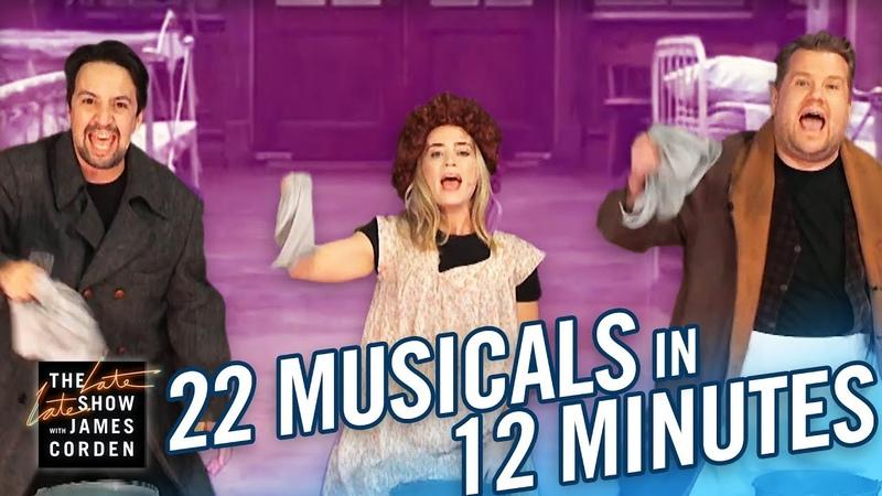 22 Musicals In 12 Minutes w Lin Manuel Miranda Emily Blunt