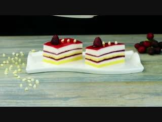 Самый легкий и очень вкусный десерт - пирожное с муссом из белого шоколада и мал