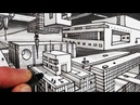 How to Draw 2 Point Perspective Sci Fi City Narrated