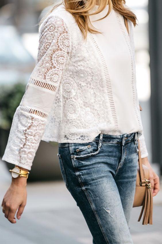 10 белых блузок из шитья