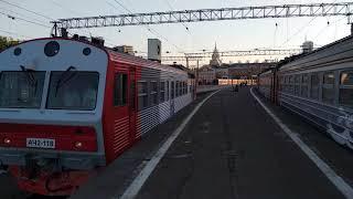 ЭД4М 0363 Спутник Раменское отправление с Казанского вокзала БОНУС Автомотриса АЧ2 118