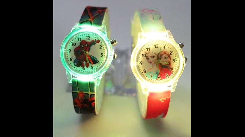 ЧАСЫ, Детские, часы, принцессы, изображением, Человека, паука, красочные, световые, часы, мальчика, девочки