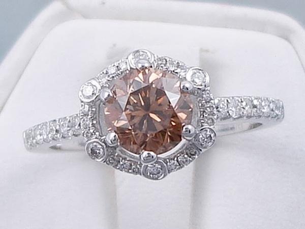 1.36 ctw Round Brilliant Cut Natural Chocolate Color Diamond Engagement Ring - BigDiamondsUSA
