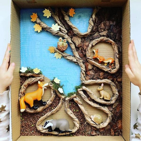 ОСЕННИЕ ПОДЕЛКИ ДЛЯ ДЕТЕЙ СВОИМИ РУКАМИ. ЭТАЖИ ЛЕСА Это не просто этажи леса - это тайный и загадочный мир зверей и птиц!Здоровская же идея, согласитесь, обьяснить ребёнку где и как живут