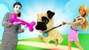 Видео про игрушки для девочек. Клоун Соня привела щенка Барби! Игры в куклы и мягкие игрушки