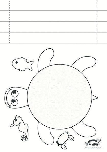 ЧЕРЕПАШКА Простая бумажная поделка-раскраска