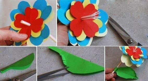 ЦВЕТЫ ИЗ БУМАГИ Для изготовления поделки понадобится: - двусторонняя цветная бумага - трубочка для питья с гармошкой - ножницы - лоток из-под яиц (один ряд) - зеленая краска Процесс