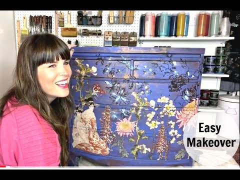 How To EASY Furniture Makeover The BEST BLUE Painting Furniture with Copper over Blue
