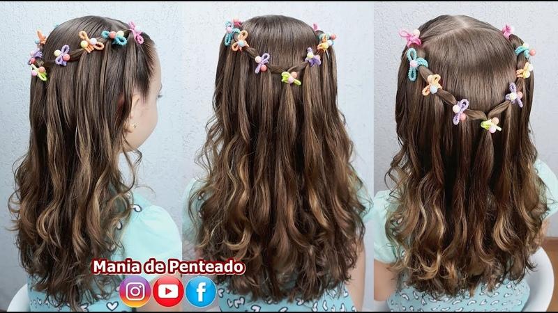 Penteado Fácil e Rápido para Meninas com Elásticos Quick Easy Hairstyle with Elastics for Girls