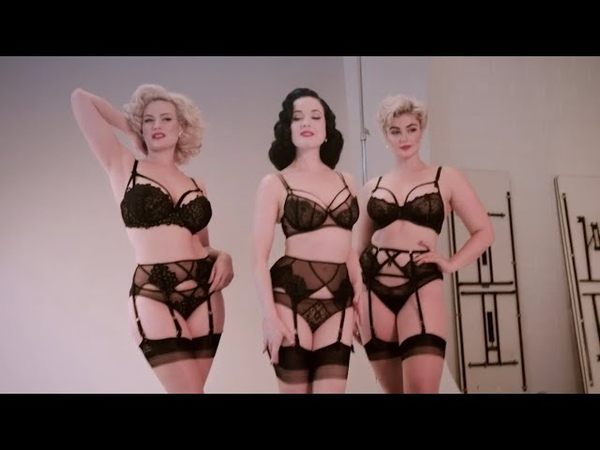 Dita Von Teese models with Stefania and Gia